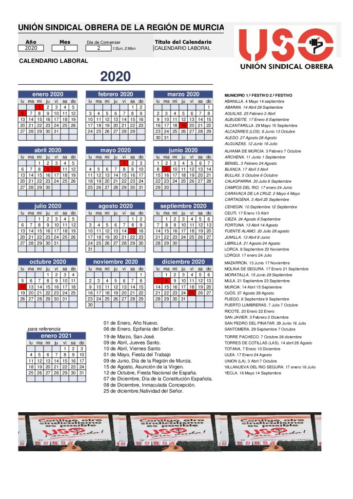 Calendario Laboral Madrid 2020 Excel.Calendario Laboral 2020 Toledo
