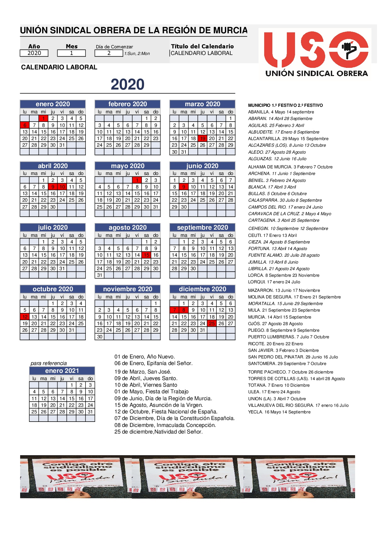2020 Calendario Laboral.Calendario Laboral De 2020 Para Los Municipios De La Region
